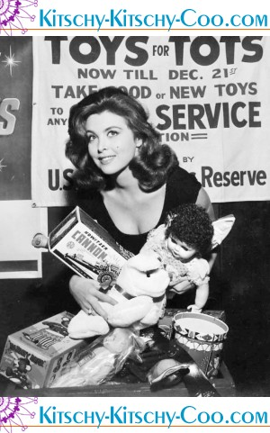 Toys For Tots Founder : Tina louise reminds you to help toys for tots kitschy