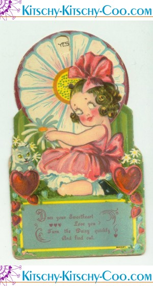 antique vintage mechanical he loves me not valentine card