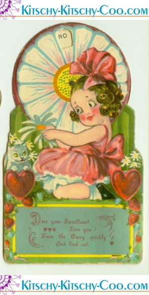 antique vintage mechanical valentine girl