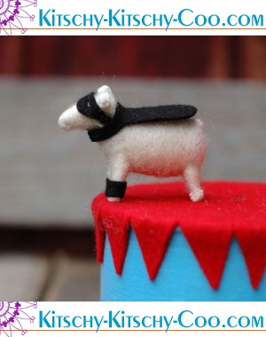 Super Hero Lamb in Black - Needle Felted Whimsy