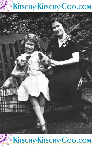 Young Queen Elizabeth II with Corgis
