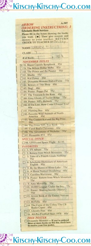 retro vintage scholastic teen book order form
