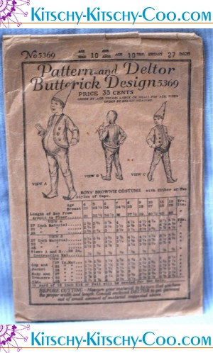 Vintage 1921 Boys Butterick Brownie Costume Pattern
