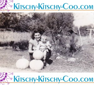 mom and baby in pupkin patch vintage