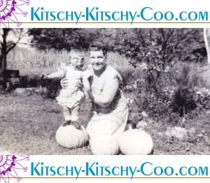 vintage toddler in halloween mask with mom