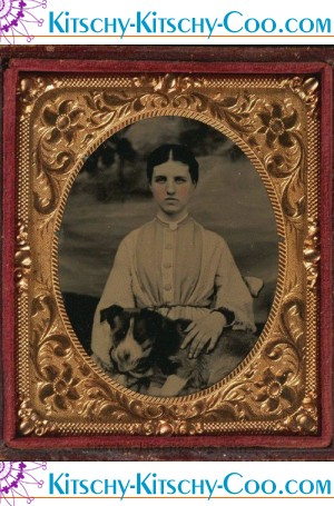 tintype woman with dog