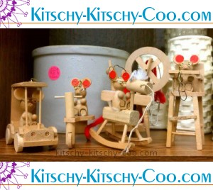 kitschy wooden mouse ornaments