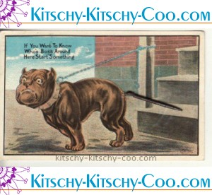 1912 bulldog postcard metal spring tail