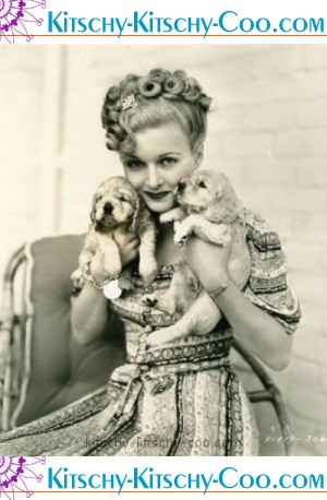 joan bennett two cocker spaniel pups