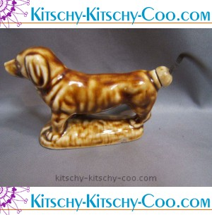 vintage Rockingham glazed ceramic dachshund dog