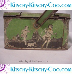 antique vintage dames and dogs lunchbox no egretsantiques