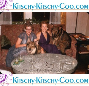 vintage color photo of two women with wolf-like dogs