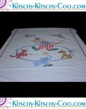 vintage applique circus linen