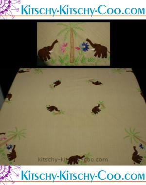 vintage embroidered elephant tablecloth