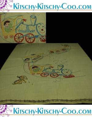 vintage embroidered kids circus linen