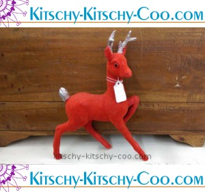 vintage red flocked reindeer