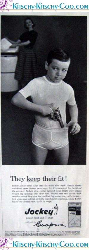 vintage gun in underwear ad