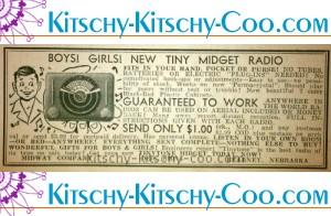 vintage tiny midget radio ad