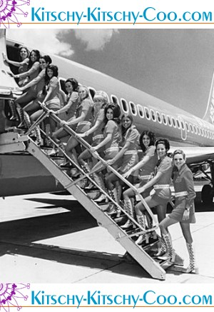 retro stewardesses with gogo boots boarding plane