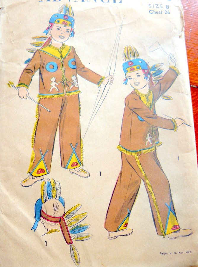 Make your own for next Halloween with this vintage Indian costume pattern.